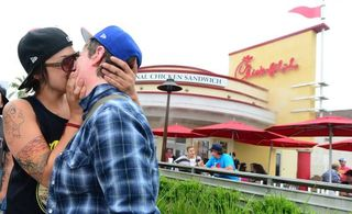 Chick fil a kiss in